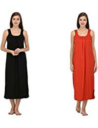 Ishita Fashions Cotton Gown Slip - Cotton Nighty - 2 PCs - Black and Red
