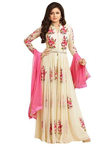 1 Stop Fashion Women\'s Cream Georgette Semi Stitched Anarkali Suit