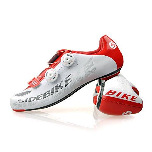 Chaussures vélo de VTT / Route Homme Femmo SD-002 Route semelle en carbone-blanc et rouge
