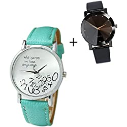 Mallom® New Arrival New Women Leather Watch Who Cares I am Late Anyway Letter Watches Sky Blue