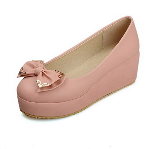 VogueZone009 Damen Weiches Material Mittler Absatz Ziehen Auf Rund Zehe Pumps Schuhe Pink