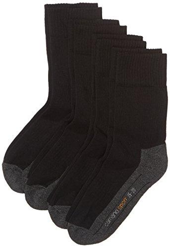 Camano Unisex 4er Pack Sportsocken mit verstärkter Ferse und Spitze Damen & Herren Socken, Schwarz (Black 05), (Herstellergröße: 43/46)