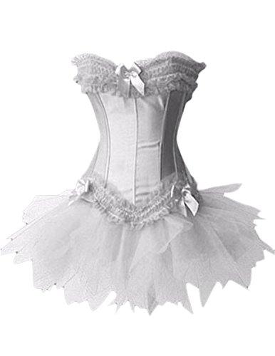 Sitengle Damen Korsagen Bustiers mit Netz Garn Kleid Kleider Palace Lang Corset Corsage Taillenformer Cincher Shapewear Frauen Korsett Weiß