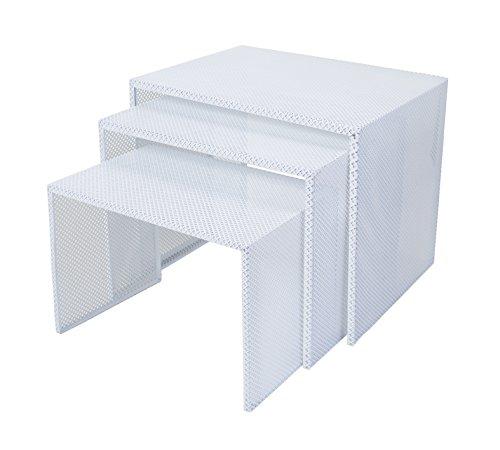 Tosel Zarina Tables Gigogne, Acier, Blanc, 48 x 40 x 40 cm