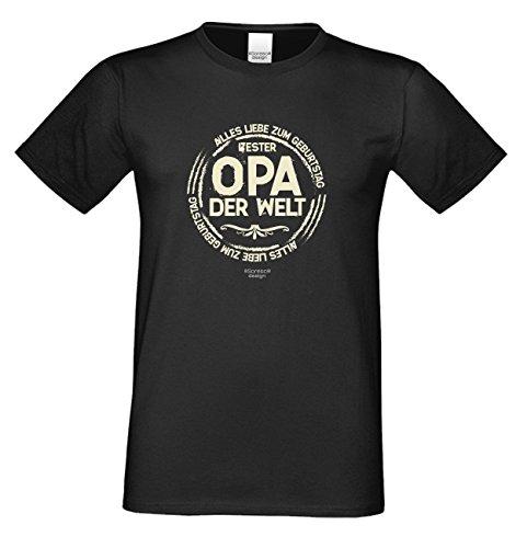 Bester Opa der Welt Universelles Großvater T-Shirt-Fun-Oberteil als Geschenke-Idee für mit dem Motiv: Farbe: schwarz Schwarz