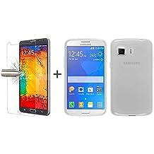 TBOC® Pack: Funda de Gel TPU Transparente + Protector Pantalla Vidrio Templado para Samsung Galaxy Young 2 G130 HN. Funda de Silicona Ultrafina y Flexible. Protector de pantalla Resistente a Golpes, Caídas y Arañazos.
