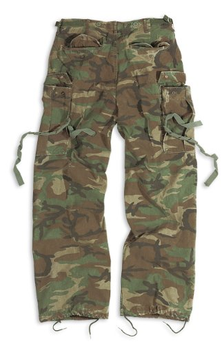 Surplus Herren Cargo Hose Vintage Fatigue Trousers Woodland Gewaschen