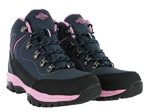 LADIES LEATHER LIGHTWEIGHT WATERPROOF WALKING HIKING TREKKING BOOTS SHOES SIZE 3 4 5 6 7 8 (6 UK, Navy / Pink)