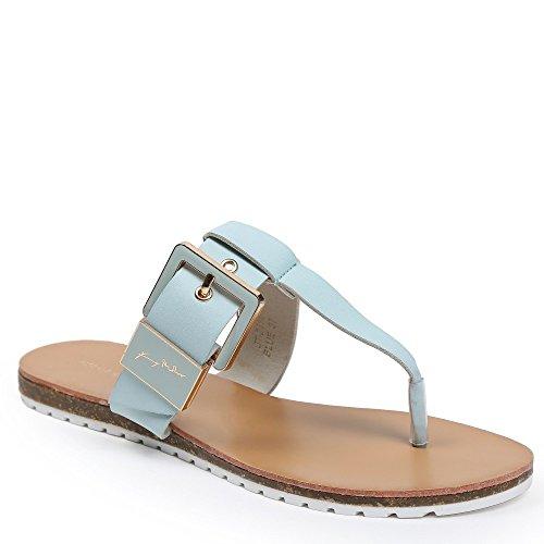 Ideal Shoes–nu-pieds con cinturone Veronica Azzurro