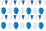 BUDILA® Dekoset blau-weiss 20 Luftballons und 1 Wimpelkette 10m lang