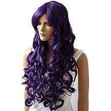 PRETTYSHOP Peluca de pelo largo rizado de fibra sintética resistente al calor púrpura CP3