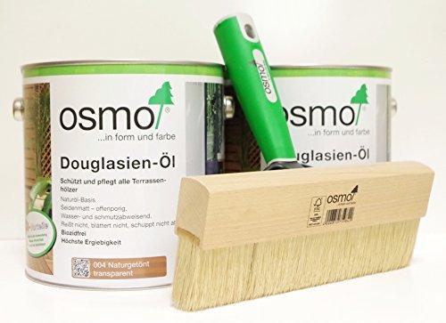 AB.Bauconcept GbR© Kombiangebot: Osmo Douglasien-Öl 004 5 Liter und Osmo Fußbodenstreichbürste 220 mm