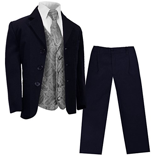 cher Marine Blauer Kinderanzug (tailliert) + Silber graue Weste mit Krawatte/Hochzeit Kommunion Konfirmation 14 ()