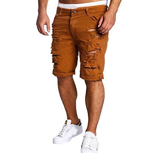 JYJM Beiläufige Jeans der Männer zerstörte Knie-Längen-Loch zerrissene Hosen-mehrfache Hosen-Kurze Hosen im Freien