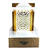 Sangam Ad WPC Golden Texture Wooden Temple with LED Light for Home & Office Temple | Pooja Mandir (Size 12X10X18 LxWxH)