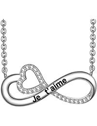 LOVORDS Collier Femme Gravé en Argent 925/1000 Pendentif Infini et Cœur Cadeau Maman Amoureux Romantique pour Ell