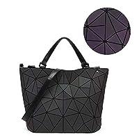 LiféUP Geometric Luminous Purses Handbags Shard Lattice Eco-Friendly Leather Rainbow Holographic Purse Rhombus Irregular Bucket Bag