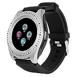 Lazzboy Reloj Inteligente, Impermeable Smartwatch Monitores de Actividad Impermeable El Nuevo Z4 Bluetooth 3.0 Es Compatible con la Tarjeta Sim del Teléfono Android Y La Tarjeta TF (Plata)