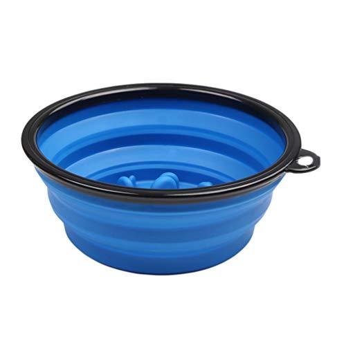 TianBin Im Freien Tragbar Langsame Nahrungsmittelschüssel des Haustieres Faltbar Hunde Katzen Wasser Essen Dual-use (Blau#3, Eine Größe)