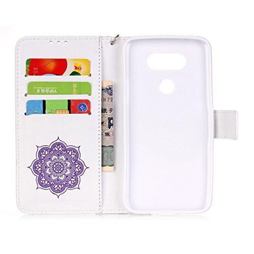 SainCat Coque Etui pour LG G5, LG G5 Coque Dragonne Portefeuille PU Cuir Etui, Coque de Protection en Cuir Folio Housse, SainCat PU Leather Case Wallet Flip Protective Cover Protector, Etui de Protect Campanula fleur,Blanc Violet