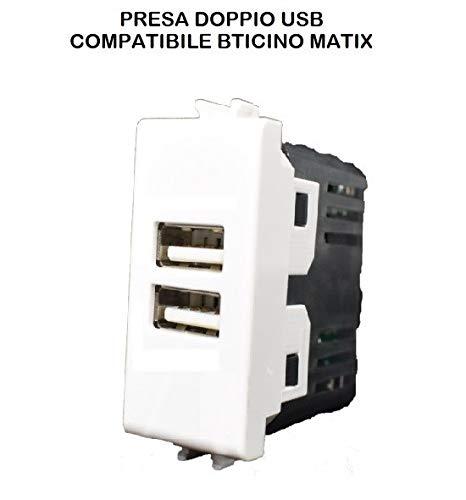 Anthis Informatica - Doble toma USB empotrable compatible con Bticino Matix, color...