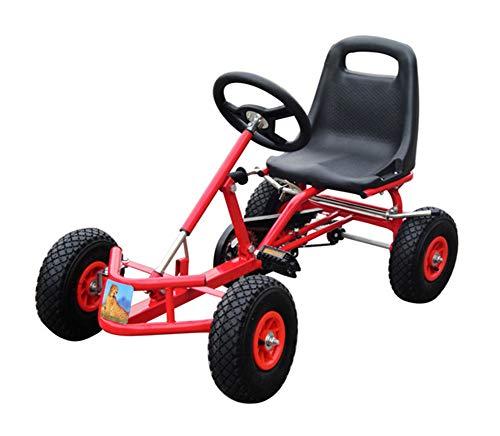 Lvbeis Kids Go-Kart-Fahren Mit Handbremse Tretauto Indoor Outdoor Tretfahrzeug Verstellbarer Kettcar Sitz FüR 2 Bis 4 Jahre,red