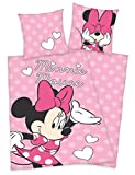 Herding Disneys Minnie Mouse Maus Bettwäsche 80x80 135x200cm, 100% Baumwolle