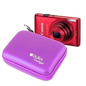 DURAGADGET housse étui rigide en violet + boucle de ceinture pour appareil photo numérique Canon PowerShot G15 et EOS M Kit Compact hybride, Samsung NX300
