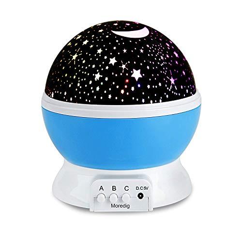 (Moredig- Sternenhimmel projektor lampe, 360° grad rotation nachtlicht lampe, 8 romantische farbige lichter, baby projektor ist ein perfektes geschenk für kinder, babys, geburtstage, weihnachten, halloween usw - Blau)