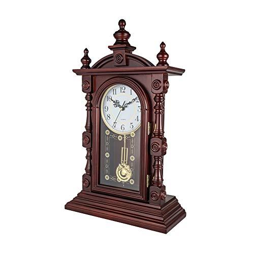 Hölzerne Kaminuhren, Ornament Tischuhr mit Westminster Chime Classic Analog Finish Stehpult & Regal Uhren Antik Quietschende Uhr (59 * 35 cm)
