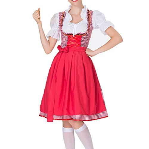Chejarity 2 TLG. Damen Oktoberfest Kostüm: Kleid, Schürze Bayerisches Bier Mädchen Drindl Tavern Maid Dress Vintage Retro Kariert Halloween Karneval Cosplay Traditionelle Kleidung (M, rot)