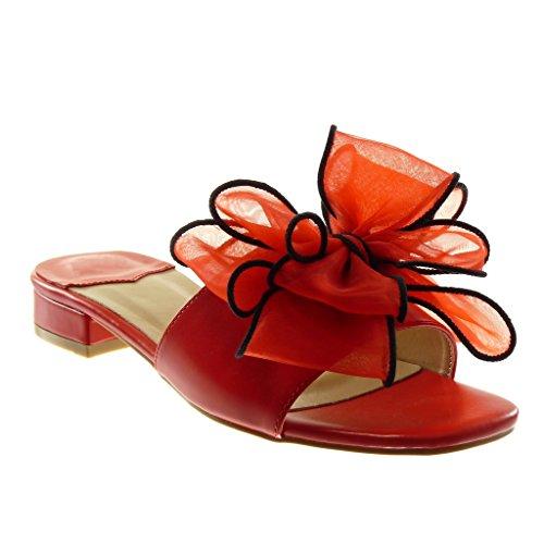 Angkorly Scarpe Moda Sandali Mules Slip-On Donna Nodo tulle Tacco a Blocco Alto 4 cm Rosso
