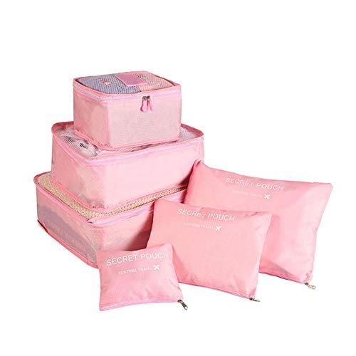 6pcs Reise Aufbewahrungstasche Set für Kleidung Ordentlich Organizer Kleiderschrank Koffer Beutel Reiseveranstalter Tasche Fall Schuhe Verpackung Cube Bag-pink -