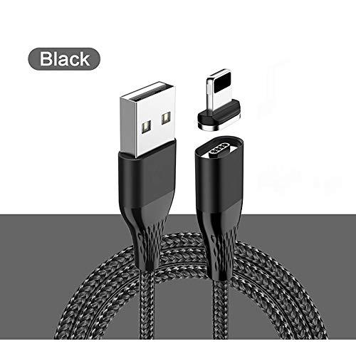 ZUEN USB-Kabel, magnetisches 1M 3A-Schnellladedatenkabel, geeignet für Apple-Geräte/Android-Geräte/Typ C-Schnittstelle, Unterstützung der Datenübertragung,Black,ApplicabletoApple