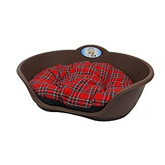 DOG BED BROWN PLASTIC WITH TARTAN CUSHION /EXTRA LARGE HEAVY DUTY PET BED – DOG/CAT/ANIMAL/SLEEP/BASKET 41uaideTRoL