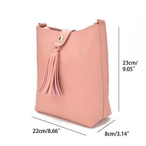 Europa Und Die Vereinigten Staaten Einfache Schulter Damen Tasche Eimer Tasche Schrägen Schultertasche WineRed