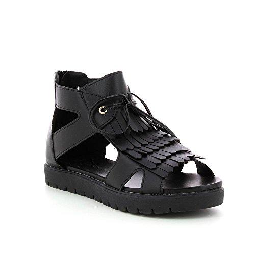 Sandales plateforme 2 cm a franges Noir