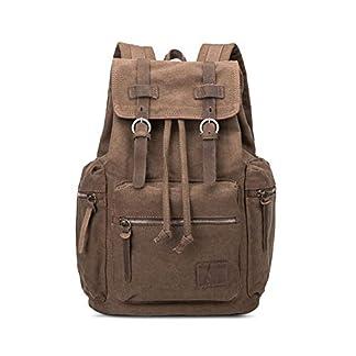 41uajdF4 9L. SS324  - QINEOR Mochila para Exteriores, Mochila De Cuero Casual De Lona Vintage Resistente Al Desgaste, Mochila para Laptop, Camping para Caminatas,A1,41 * 31.5 * 15cm