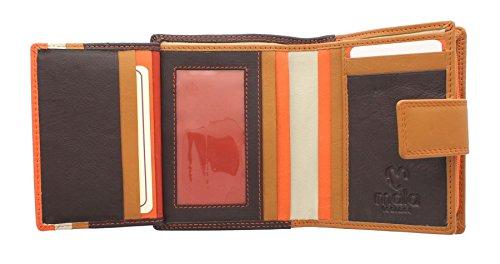 Borsa in Pelle Multicolore Mala Leather Collezione GRAFTON 3277_78 Azzurro Multi Marrone Multi