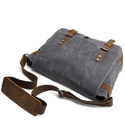Hakgy Unisexe Sacs Messenger Toile Cuir Bandoulière Voyage sacoche sac à bandoulière pour ordinateurs portables 35,6cm, gris
