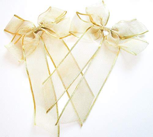 CaPiSo 2 Stück Große Satinschleife 20 x 30 cm,Geschenkschleife,Dekoschleife,Satin, Schleife (2 Stück Gold Rand) -