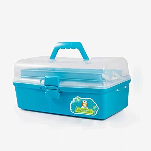 Preisvergleich Produktbild LXYFMS Medizin-Box Hause Multi-Layer-große Medikament Medikament Aufbewahrungsbox Verbandskasten blau 33, 5x18x16cm