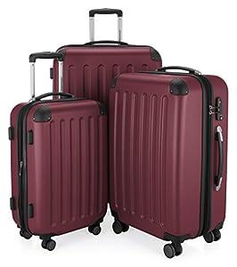 HAUPTSTADTKOFFER - Spree - 3er Koffer-Set Trolley-Set Rollkoffer Reisekoffer, TSA, (S, M & L), Burgund