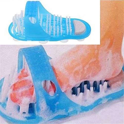 thorityau Kunststoff Bad Fußbürste rutschfest Badezimmer Hausschuhe Fußwaschbürste Badeschuhe Massage Für Peeling Reinigen Massage Blau -