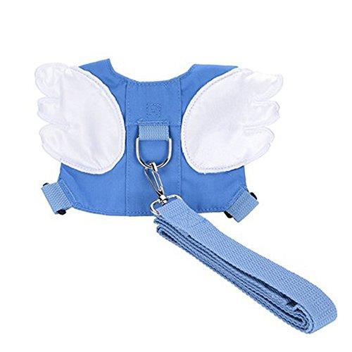 Eunice house Kleinkind-Sicherheitsgurt Rucksack, Baby Anti-verlorene Rucksack Kinder Zügel Kind Wandern Kabelbaum mit Sicherheitsleine Gurt (Engelsflügel, blau)
