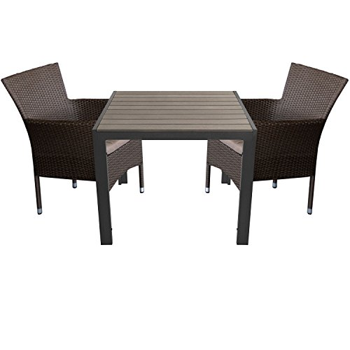 Multistore 2002 3tlg. Gartengarnitur Aluminium Gartentisch 90x90cm mit Polywood Tischplatte + Rattansessel, stapelbar, Polyrattanbespannung, Braun-Meliert inkl. Sitzkissen