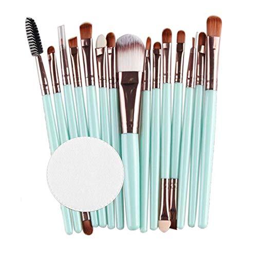 TAOtTAO 15 Teile / Satz Make-upbürsten mit Baumwollauflage aus Holzgriff Make-Up Pinsel Set Werkzeuge Make-up Kulturbeutel Kit Wolle Make-up Pinsel Set (Minzgrün)