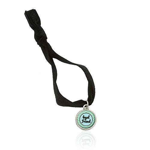 Loyal Friend On A Chevron Pattern Bracelet Double Fold Over Stretchy Elastic No Crease Hair Tie With Charm