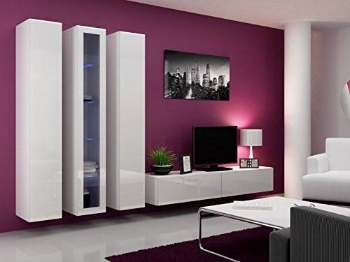 Wohnwand \' Vigo 2\' Hochglanz Hängeschrank Lowboard Cube , Farbe:Weiß