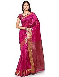 Kanchnar Women's Black And Golden Cotton Linen Plain Party Wear Saree With Un-stitched Blouse Fabric